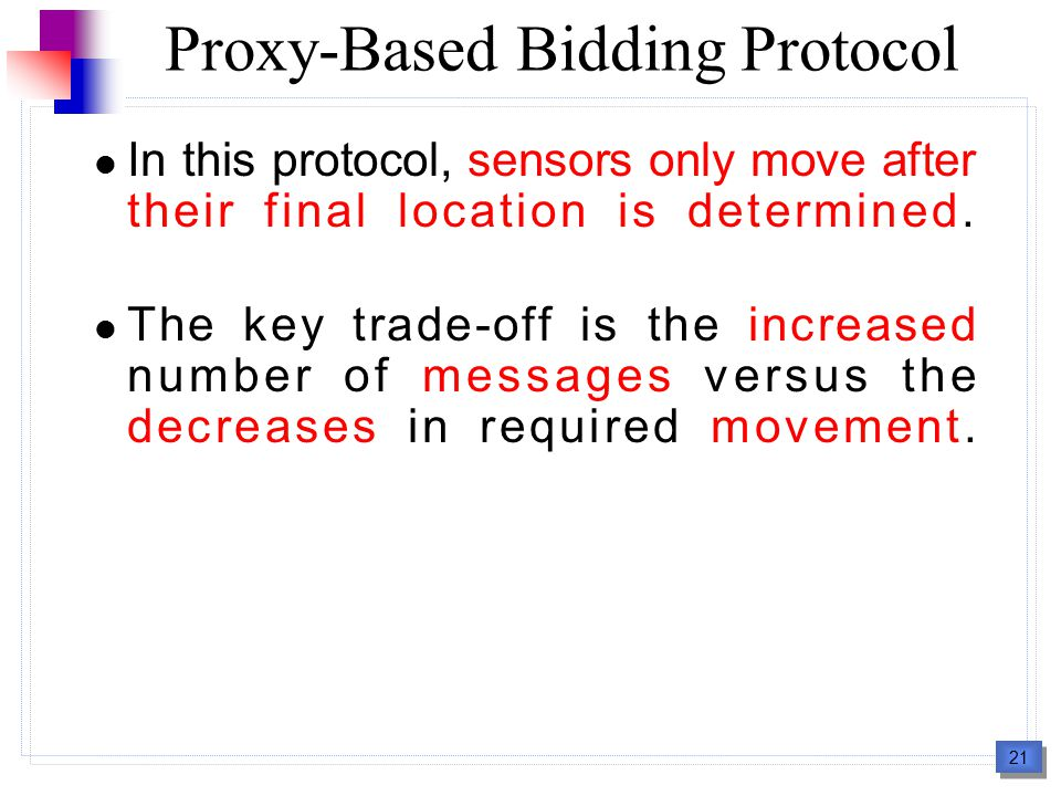22 Start Phase 1 : Service Advertisement Phase Phase 2 : Bidding Phase Phase 3 : Virtual Movement Phase Phase 4 : Hole-exchange Phase End Proxy-Based Bidding Protocol