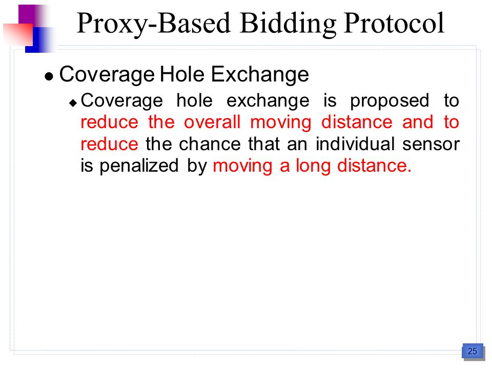 25 Coverage Hole Exchange  Coverage hole exchange is proposed to reduce the overall moving distance and to reduce the chance that an individual senso
