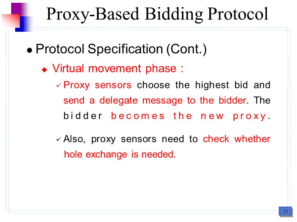 30 Protocol Specification (Cont.)  Virtual movement phase : Proxy sensors choose the highest bid and send a delegate message to the bidder. The bidde