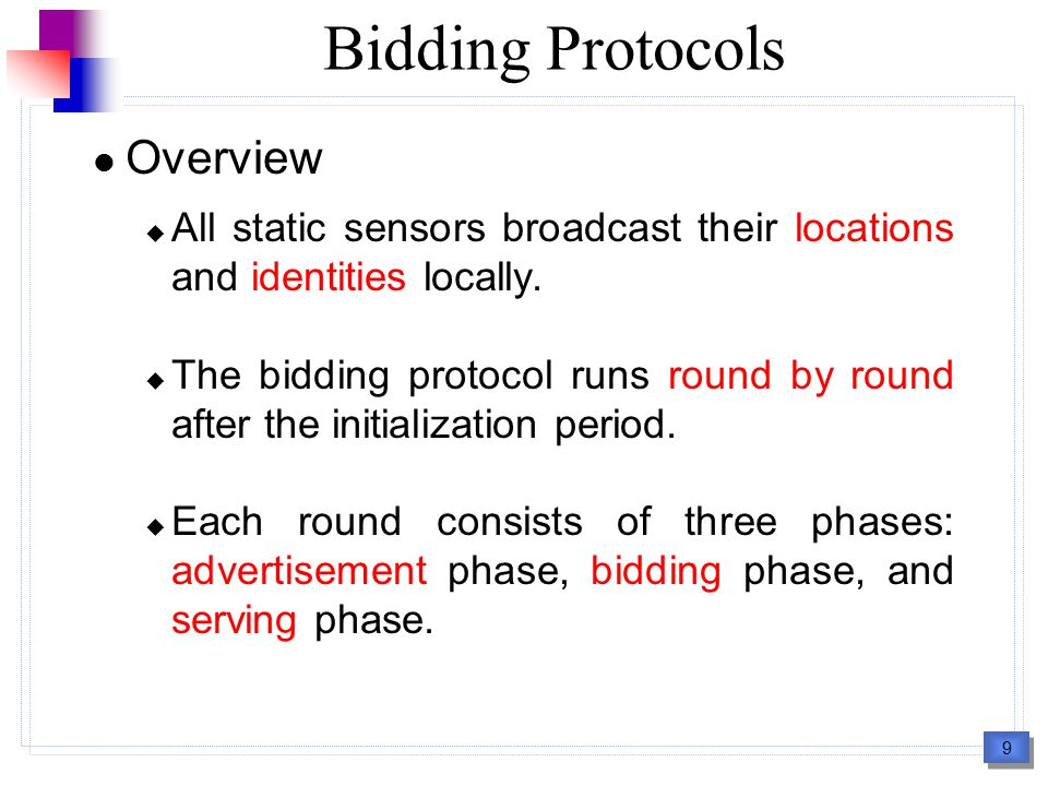 10 Bidding Protocols Overview (cont.)  The advertisement phase : Each mobile sensor has a base price, which is related to the size of any new hole generated by its movement.