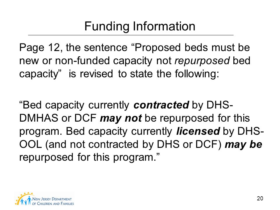 20 Funding Information Page 12, the sentence Proposed beds must be new or non-funded capacity not repurposed bed capacity is revised to state the following: Bed capacity currently contracted by DHS- DMHAS or DCF may not be repurposed for this program.