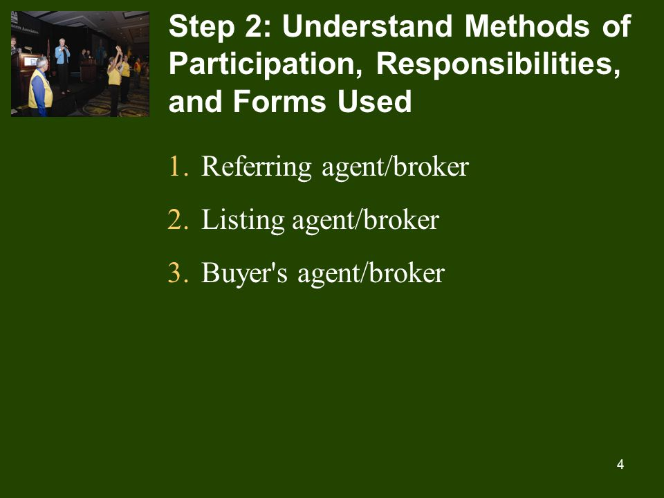 4 Step 2: Understand Methods of Participation, Responsibilities, and Forms Used 1.Referring agent/broker 2.Listing agent/broker 3.Buyer s agent/broker