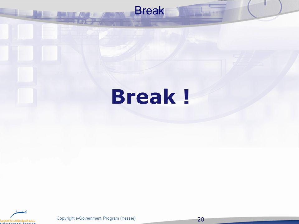 20 Copyright e-Government Program (Yesser) Break Break !