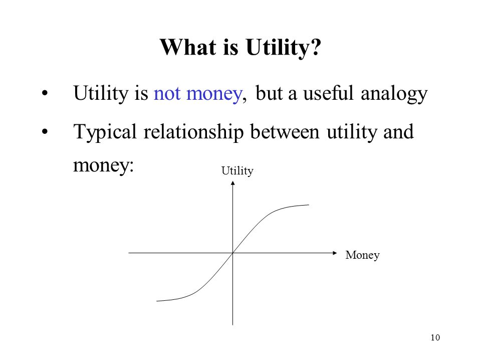 10 What is Utility? Utility is not money, but a useful analogy Typical relationship between utility and money: Utility Money