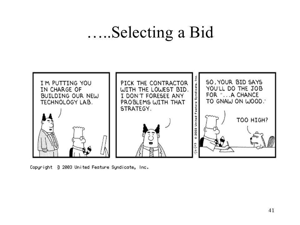 41 …..Selecting a Bid