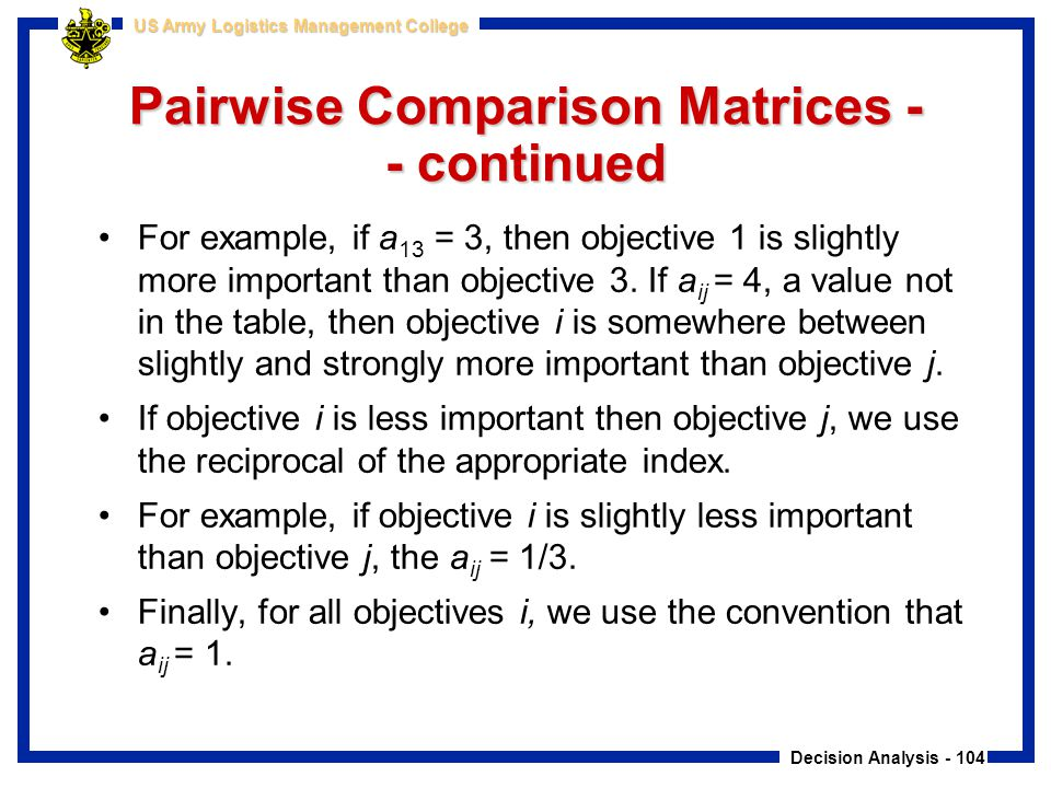 Decision Analysis - 104 US Army Logistics Management College Pairwise Comparison Matrices - - continued For example, if a 13 = 3, then objective 1 is