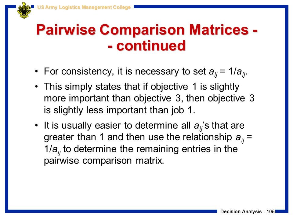 Decision Analysis - 105 US Army Logistics Management College Pairwise Comparison Matrices - - continued For consistency, it is necessary to set a ij =