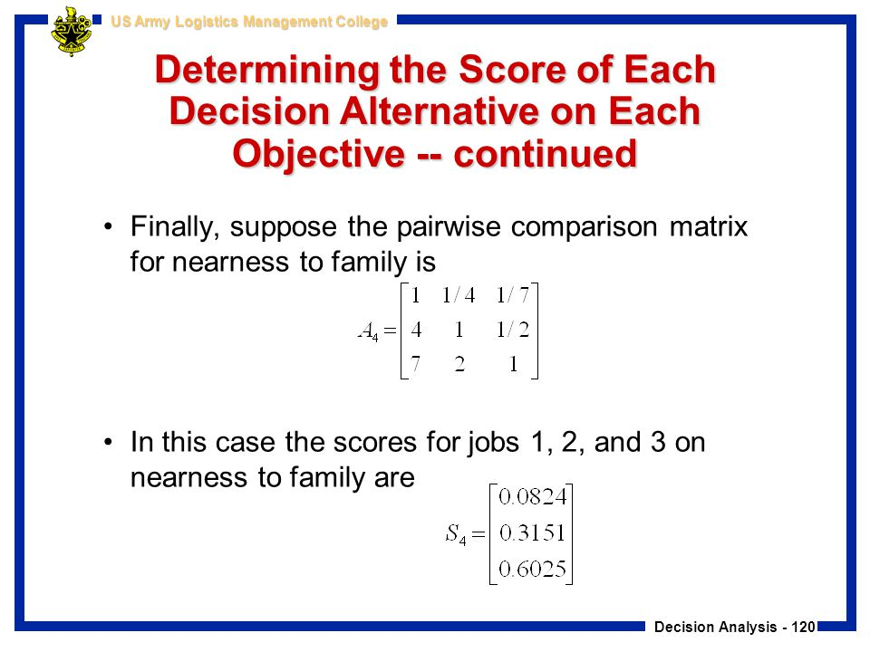 Decision Analysis - 120 US Army Logistics Management College Determining the Score of Each Decision Alternative on Each Objective -- continued Finally