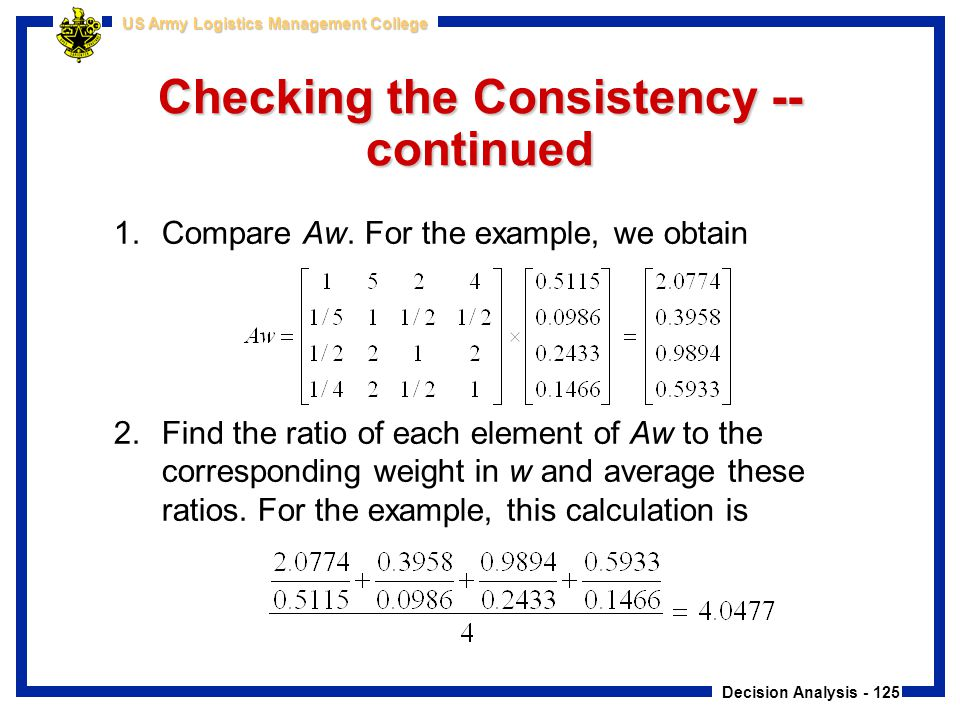 Decision Analysis - 125 US Army Logistics Management College Checking the Consistency -- continued 1.Compare Aw. For the example, we obtain 2.Find the