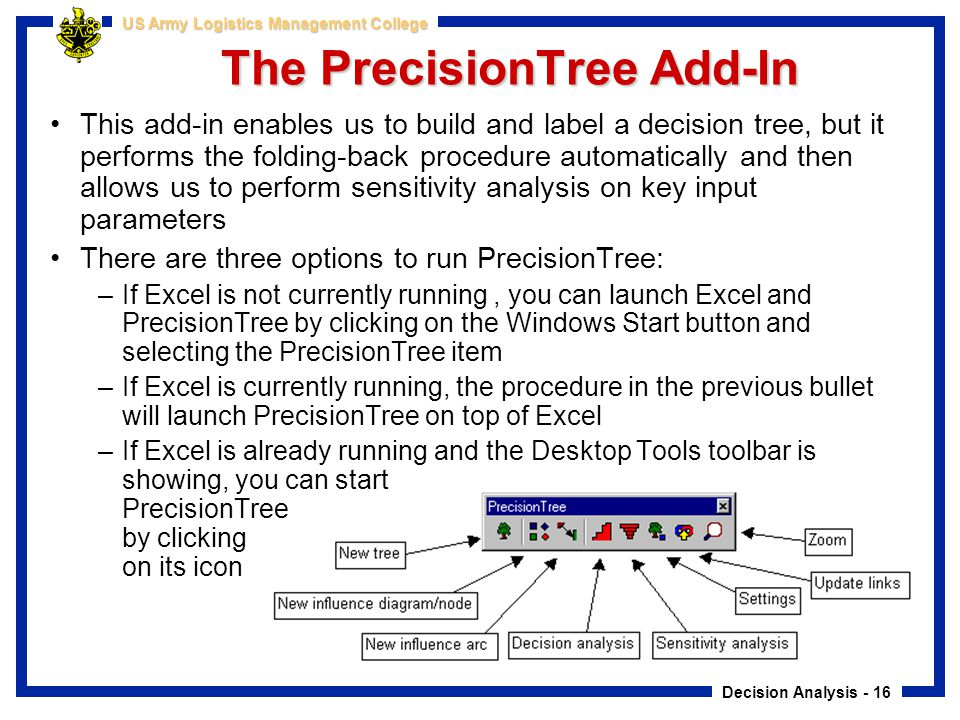 Decision Analysis - 16 US Army Logistics Management College The PrecisionTree Add-In This add-in enables us to build and label a decision tree, but it