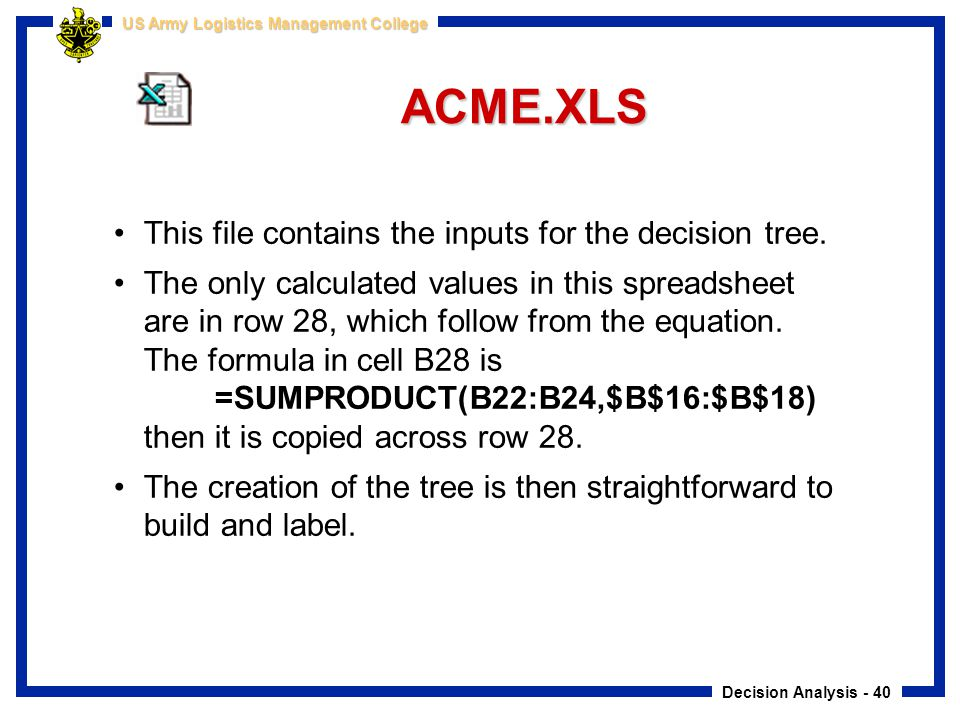 Decision Analysis - 40 US Army Logistics Management College ACME.XLS This file contains the inputs for the decision tree. The only calculated values i