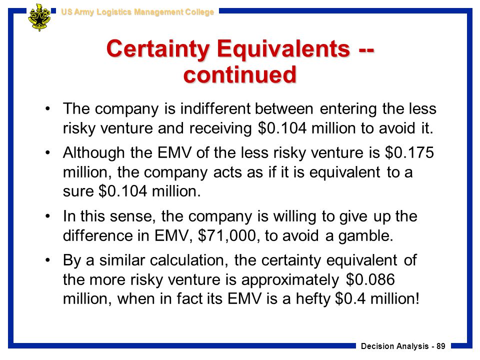Decision Analysis - 89 US Army Logistics Management College Certainty Equivalents -- continued The company is indifferent between entering the less ri
