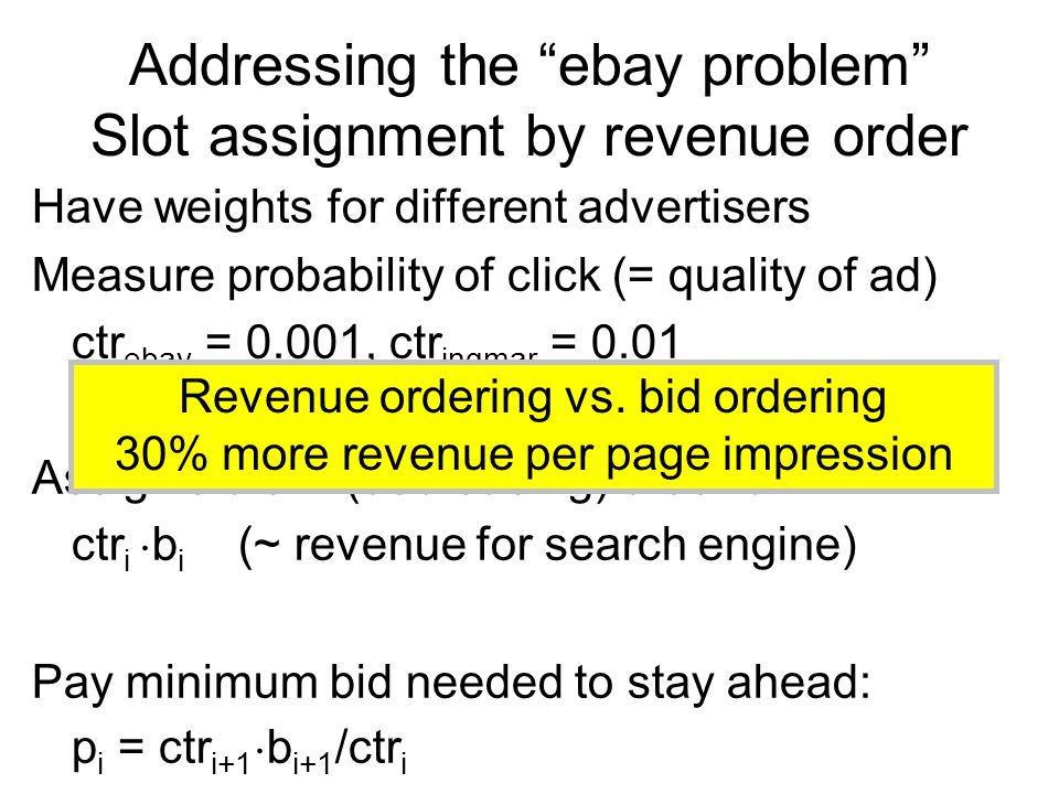Addressing the ebay problem Slot assignment by revenue order Have weights for different advertisers Measure probability of click (= quality of ad) ctr ebay = 0.001, ctr ingmar = 0.01 Assign slots in (decreasing) order of ctr i ¢ b i (~ revenue for search engine) Pay minimum bid needed to stay ahead: p i = ctr i+1 ¢ b i+1 /ctr i Revenue ordering vs.