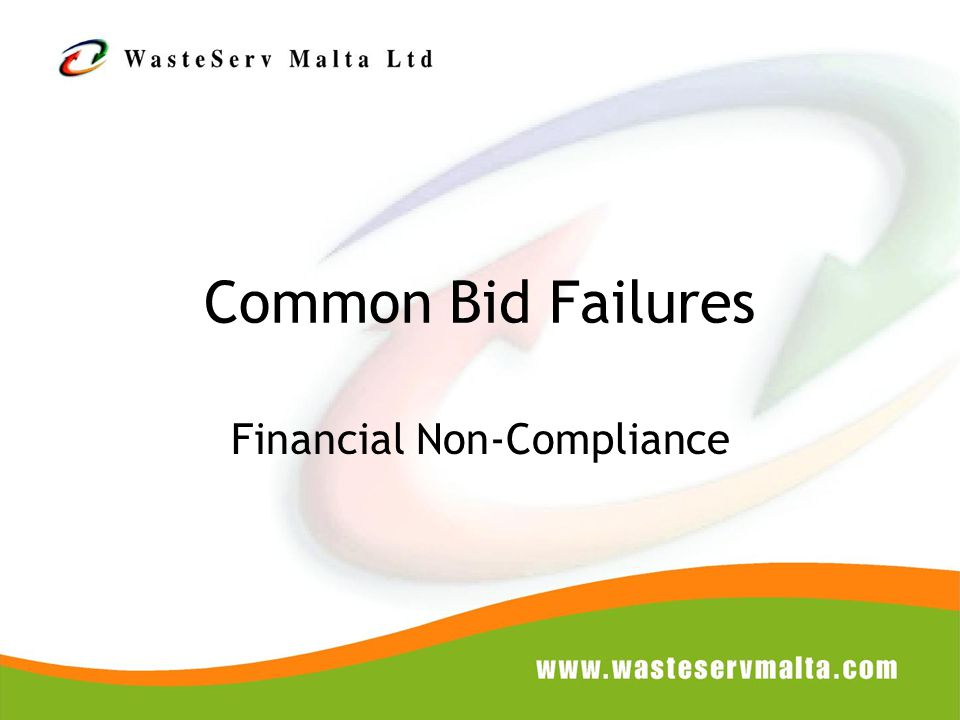 Common Bid Failures Financial Non-Compliance
