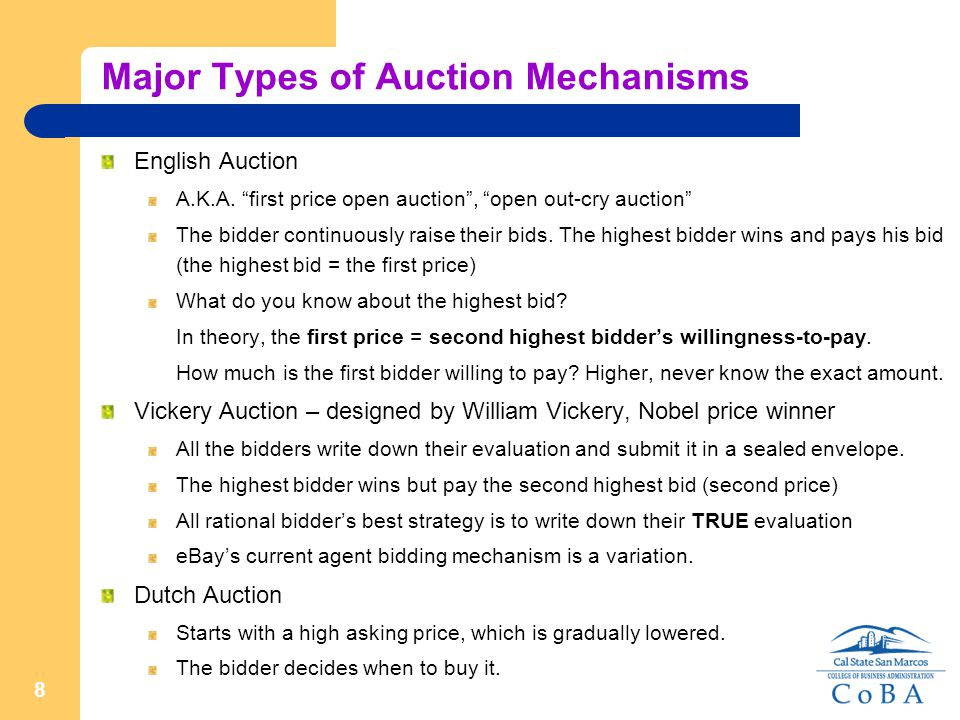 9 Issues in Auction Auctions are good for price discovery Good for selling unique, non-standardized products  improve efficiency.