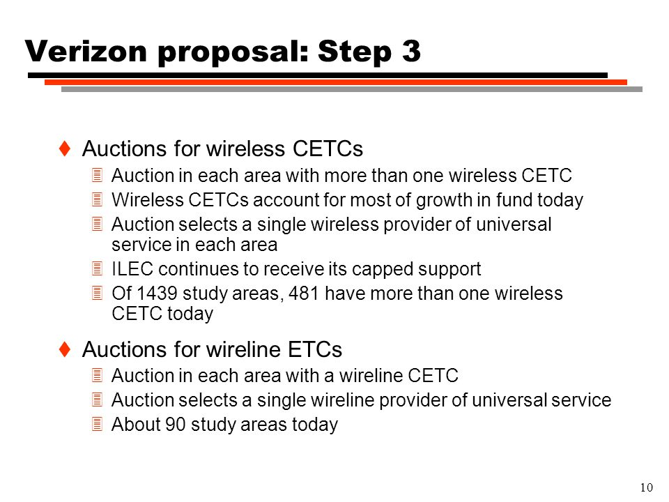 10 Verizon proposal: Step 3 t Auctions for wireless CETCs 3Auction in each area with more than one wireless CETC 3Wireless CETCs account for most of growth in fund today 3Auction selects a single wireless provider of universal service in each area 3ILEC continues to receive its capped support 3Of 1439 study areas, 481 have more than one wireless CETC today t Auctions for wireline ETCs 3Auction in each area with a wireline CETC 3Auction selects a single wireline provider of universal service 3About 90 study areas today
