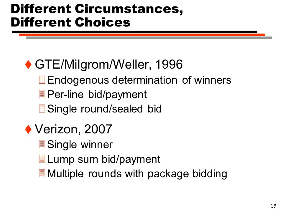 15 Different Circumstances, Different Choices t GTE/Milgrom/Weller, 1996 3Endogenous determination of winners 3Per-line bid/payment 3Single round/seal