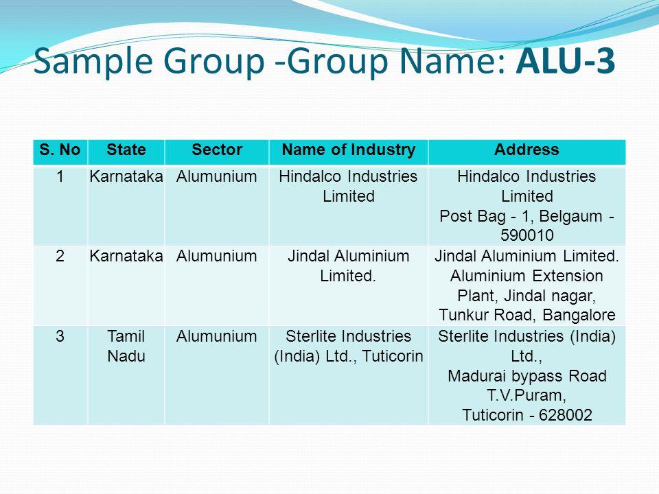 Sample Group -Group Name: ALU-3 S.