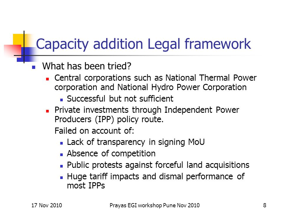 Capacity addition Legal framework What has been tried.