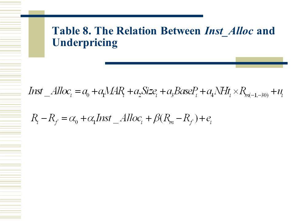 Table 8. The Relation Between Inst_Alloc and Underpricing