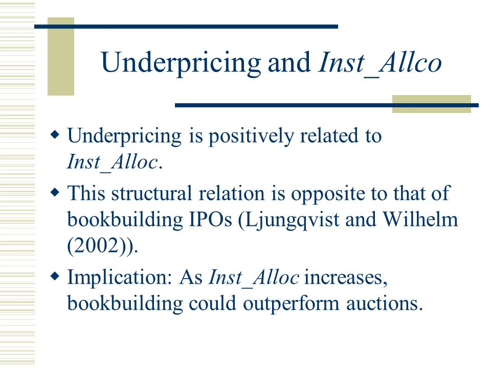 Underpricing and Inst_Allco  Underpricing is positively related to Inst_Alloc.