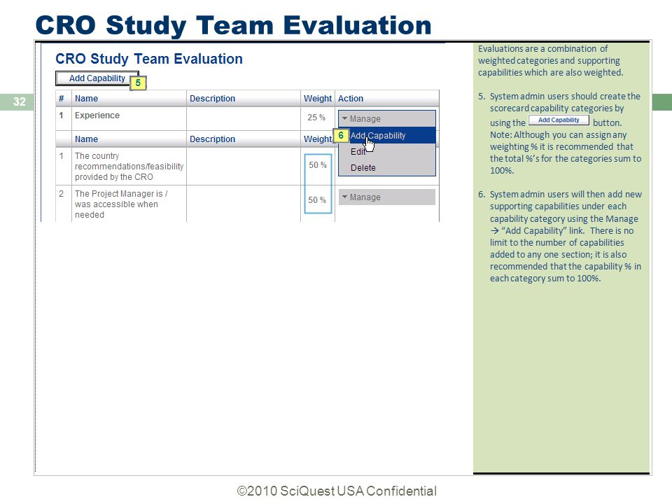 ©2010 SciQuest USA Confidential 32 CRO Study Team Evaluation