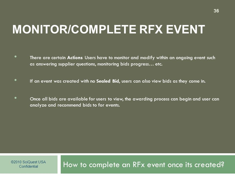 How to complete an RFx event once its created.