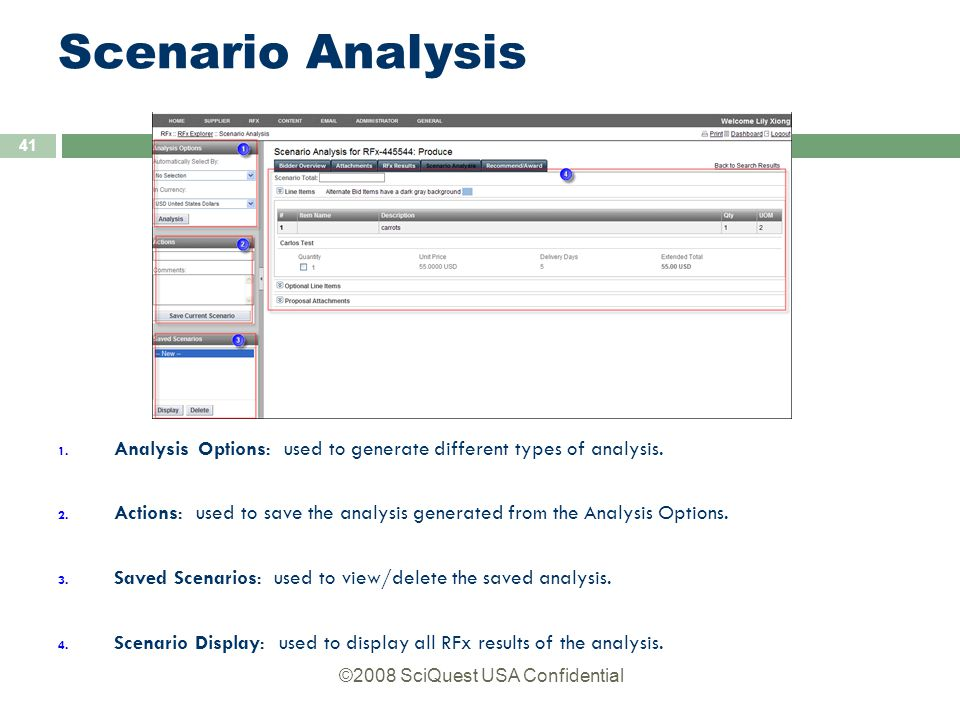 ©2008 SciQuest USA Confidential 41 Scenario Analysis 1.