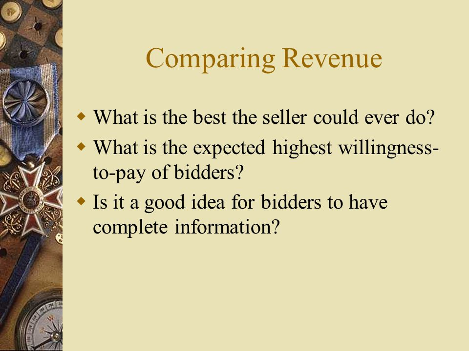 Comparing Revenue  What is the best the seller could ever do.