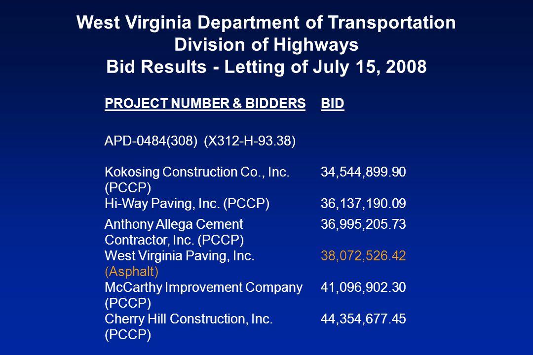 PROJECT NUMBER & BIDDERSBID APD-0484(308) (X312-H-93.38) Kokosing Construction Co., Inc.