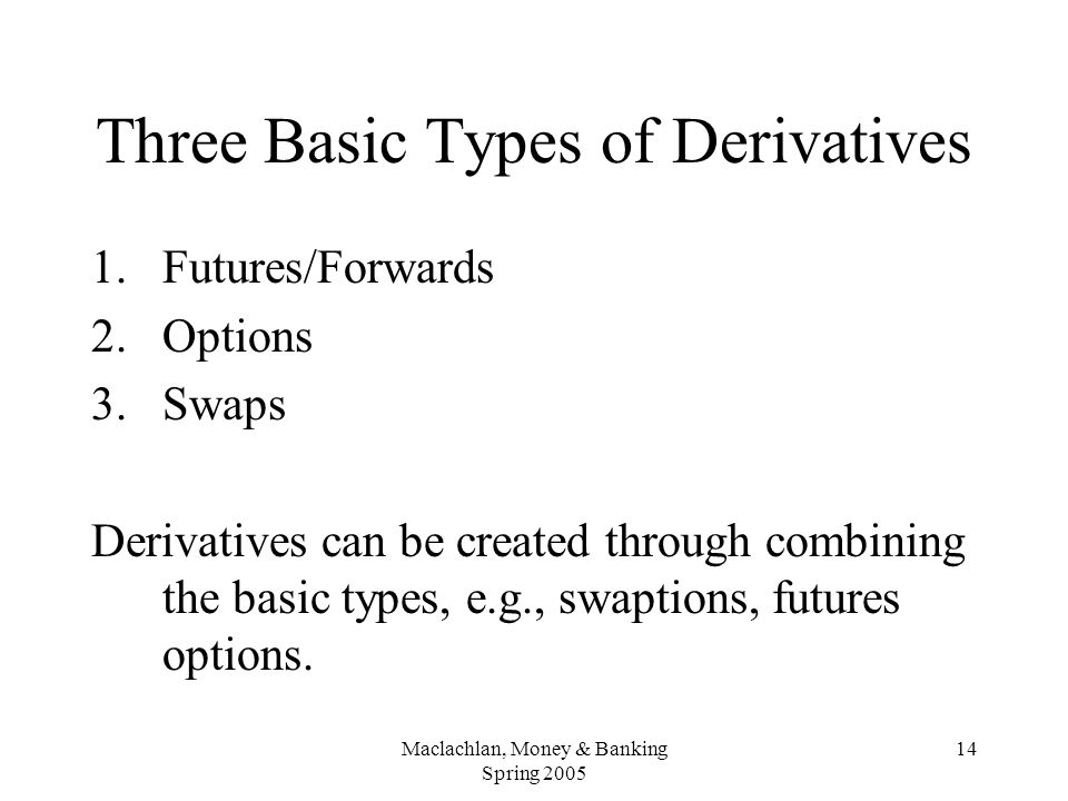 Maclachlan, Money & Banking Spring 2005 14 Three Basic Types of Derivatives 1.Futures/Forwards 2.Options 3.Swaps Derivatives can be created through combining the basic types, e.g., swaptions, futures options.