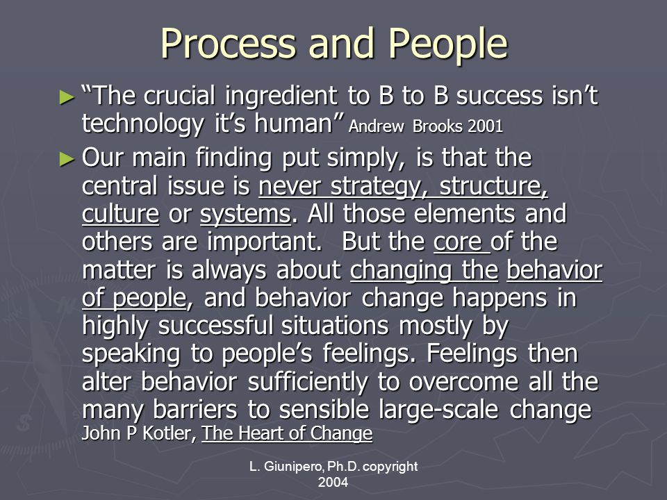 """L. Giunipero, Ph.D. copyright 2004 Process and People ► """"The crucial ingredient to B to B success isn't technology it's human"""" Andrew Brooks 2001 ► Ou"""
