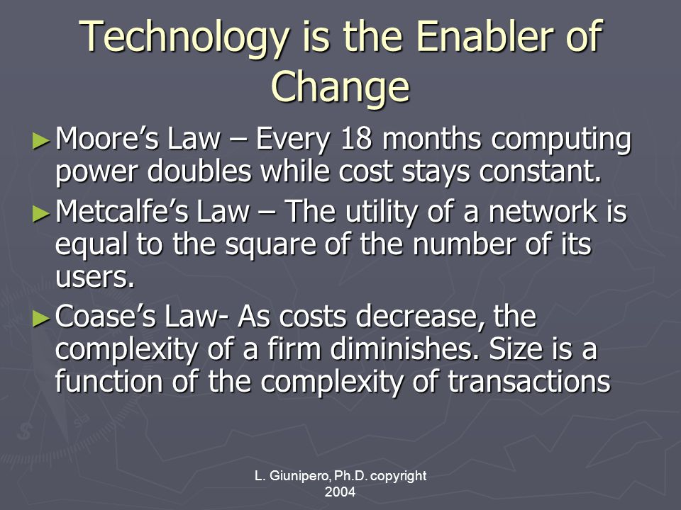 L. Giunipero, Ph.D. copyright 2004 Technology is the Enabler of Change ► Moore's Law – Every 18 months computing power doubles while cost stays consta