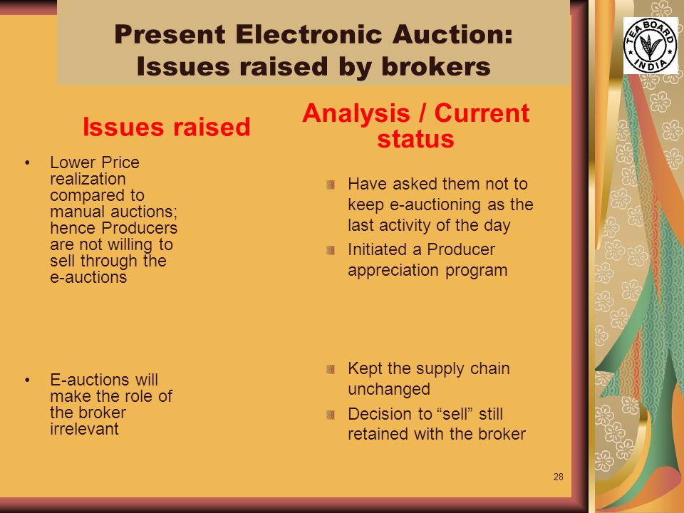 28 Lower Price realization compared to manual auctions; hence Producers are not willing to sell through the e-auctions E-auctions will make the role of the broker irrelevant Have asked them not to keep e-auctioning as the last activity of the day Initiated a Producer appreciation program Kept the supply chain unchanged Decision to sell still retained with the broker Issues raised Analysis / Current status Present Electronic Auction: Issues raised by brokers