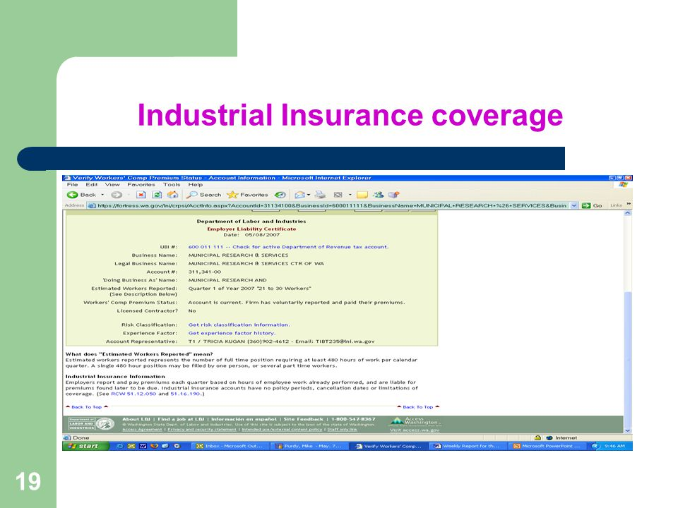 19 Industrial Insurance coverage