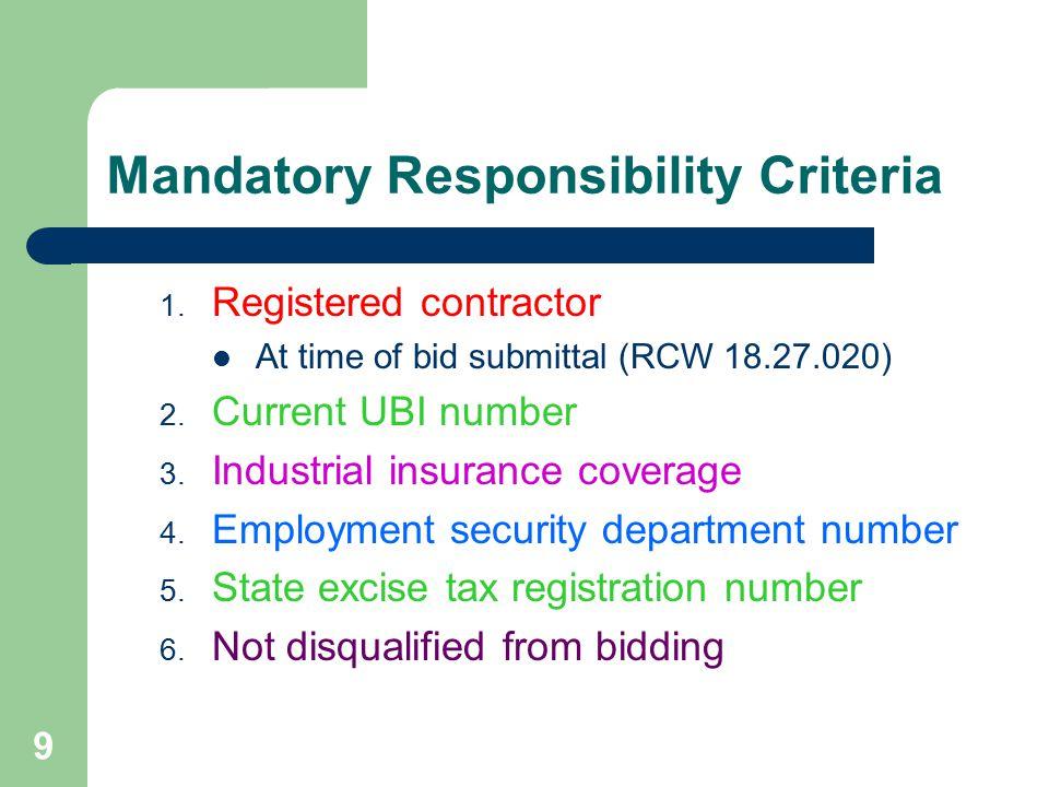 9 Mandatory Responsibility Criteria 1.