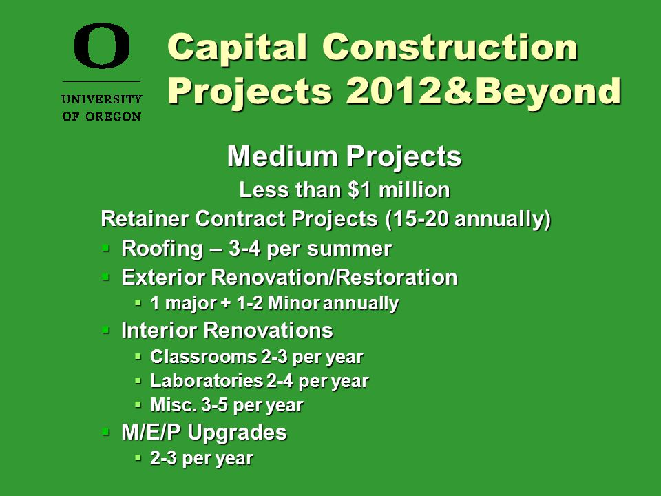 Medium Projects Less than $1 million Retainer Contract Projects (15-20 annually)  Roofing – 3-4 per summer  Exterior Renovation/Restoration  1 major + 1-2 Minor annually  Interior Renovations  Classrooms 2-3 per year  Laboratories 2-4 per year  Misc.