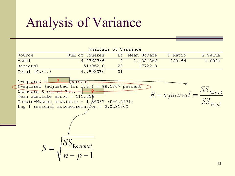 13 Analysis of Variance ? ?