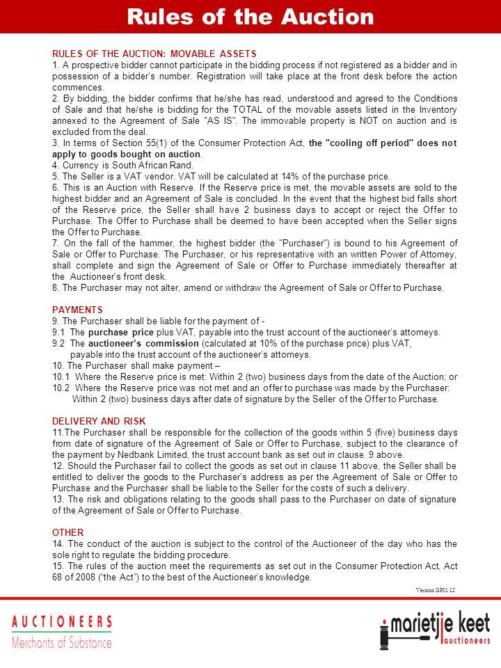 Rules of the Auction RULES OF THE AUCTION: MOVABLE ASSETS 1.