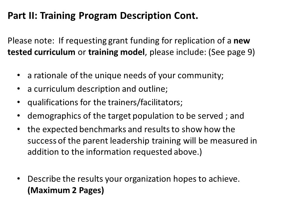 Part II: Training Program Description Cont.