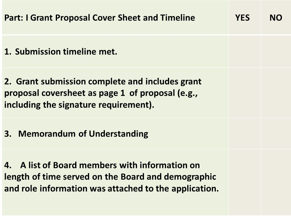 Part: I Grant Proposal Cover Sheet and Timeline YES NO 1.Submission timeline met.
