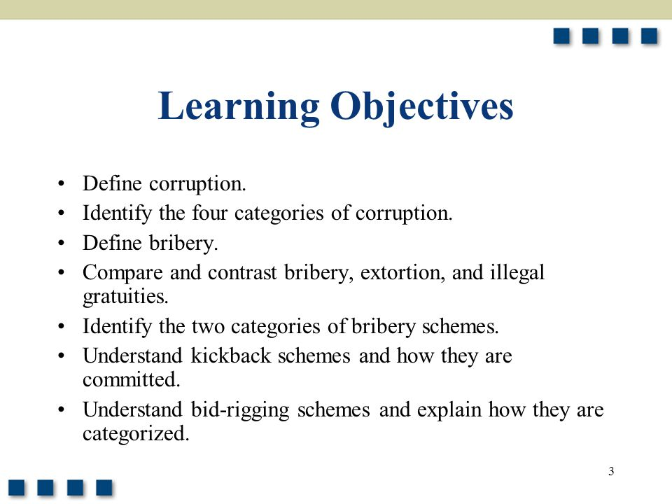 4 Learning Objectives Describe the types of abuses that are committed at each stage of the competitive bidding process.