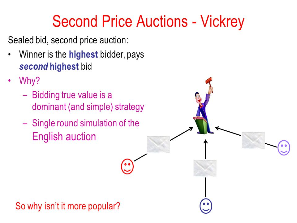 Second Price Auctions - Vickrey So why isn't it more popular.