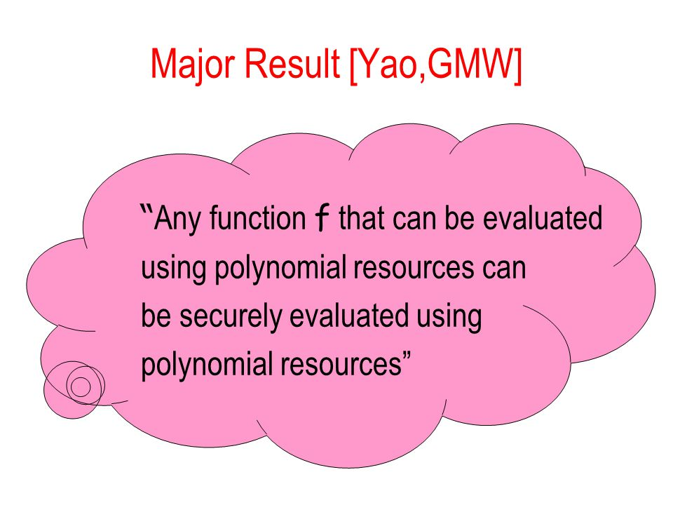 Major Result [Yao,GMW] Any function f that can be evaluated using polynomial resources can be securely evaluated using polynomial resources