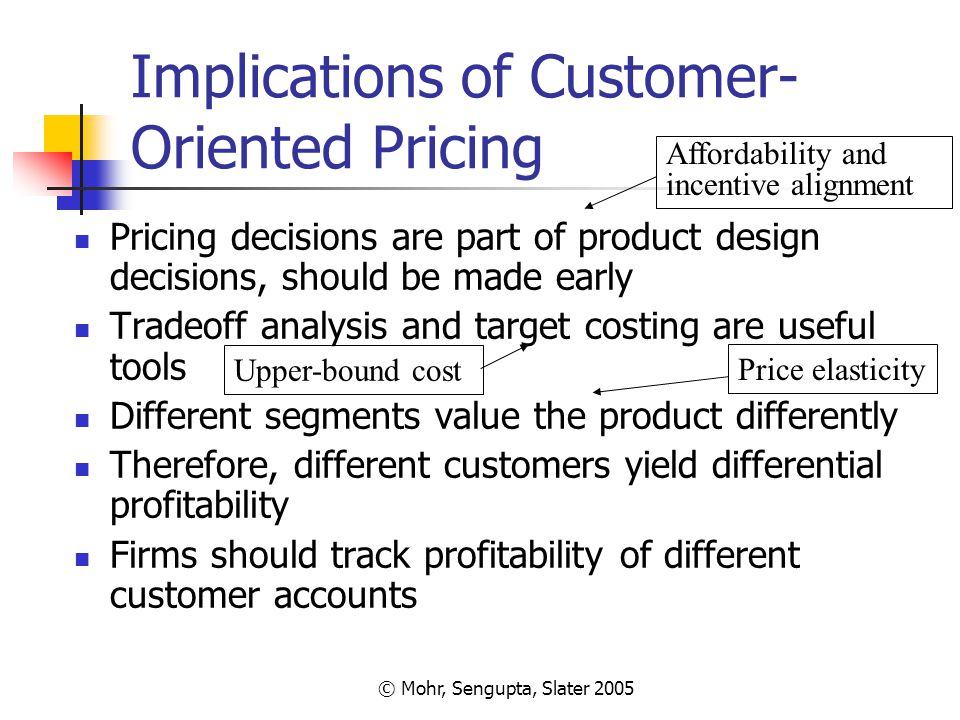 © Mohr, Sengupta, Slater 2005 Implications of Customer- Oriented Pricing Pricing decisions are part of product design decisions, should be made early
