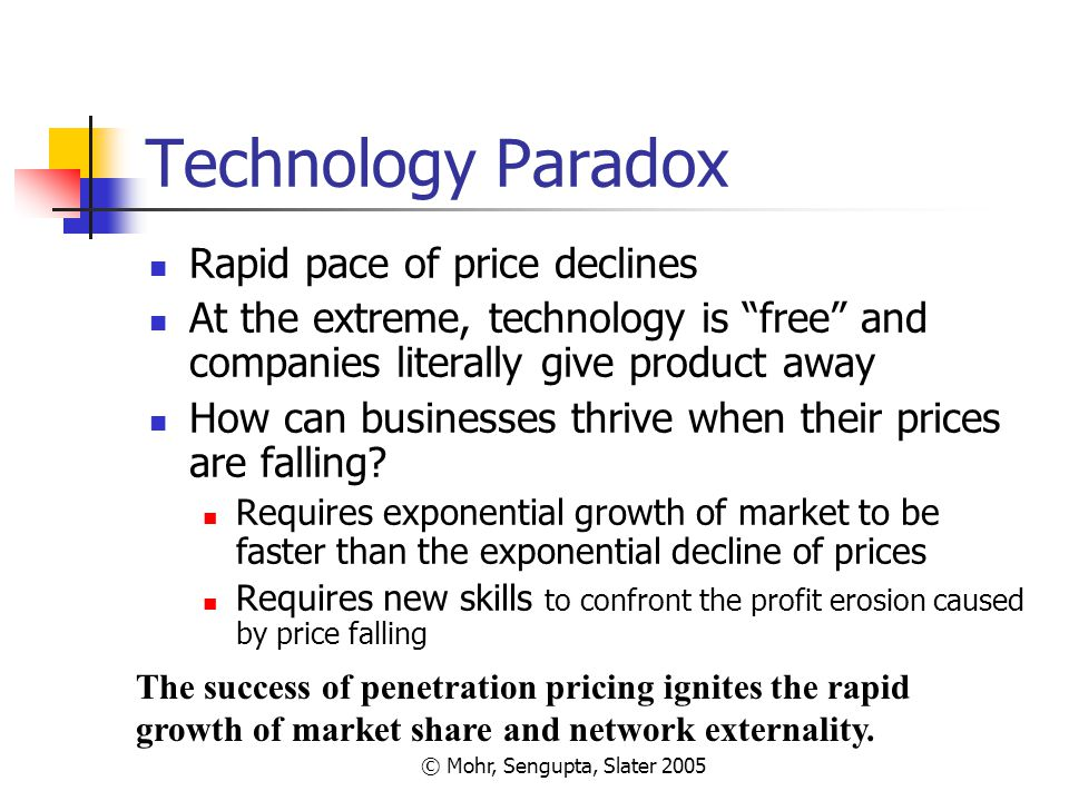 """© Mohr, Sengupta, Slater 2005 Technology Paradox Rapid pace of price declines At the extreme, technology is """"free"""" and companies literally give produc"""