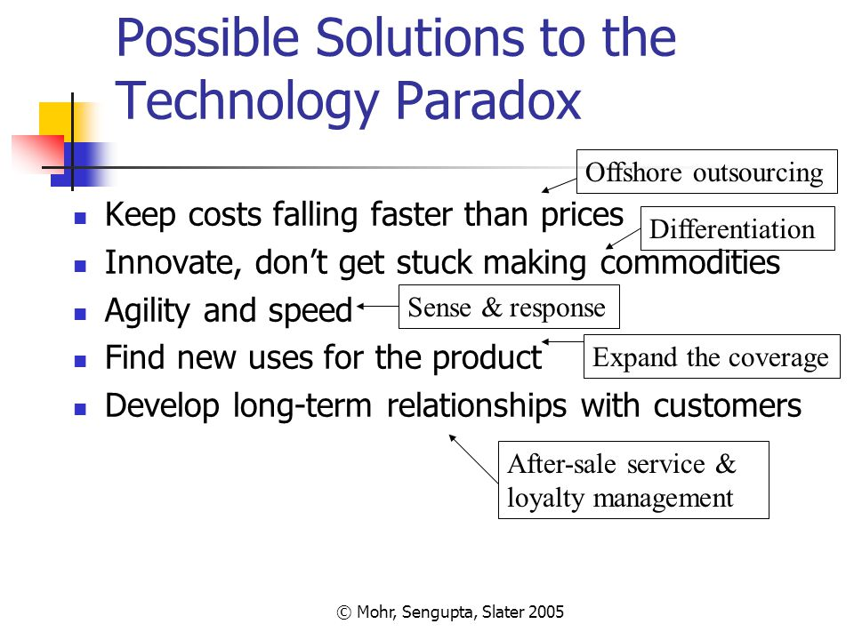 © Mohr, Sengupta, Slater 2005 Possible Solutions to the Technology Paradox Keep costs falling faster than prices Innovate, don't get stuck making comm