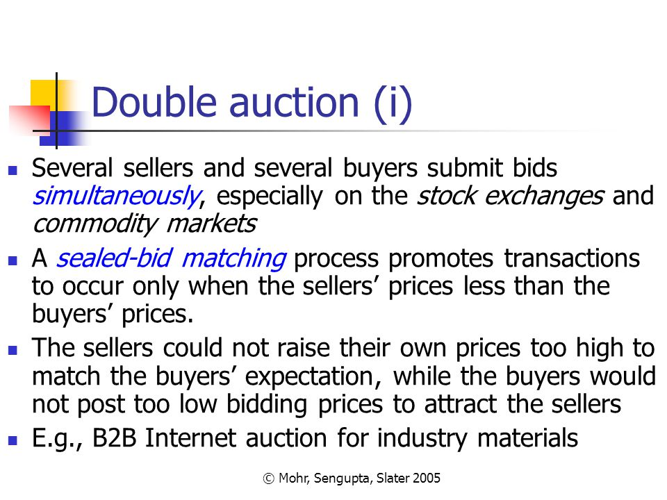 © Mohr, Sengupta, Slater 2005 Double auction (i) Several sellers and several buyers submit bids simultaneously, especially on the stock exchanges and