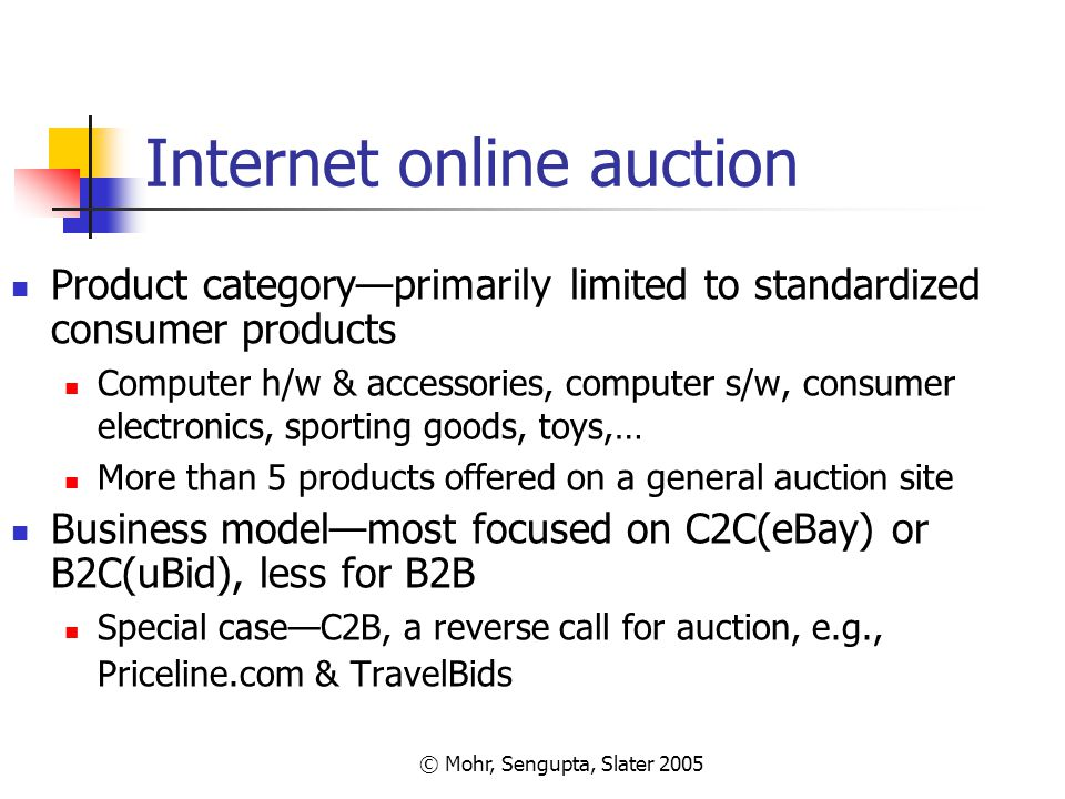 © Mohr, Sengupta, Slater 2005 Internet online auction Product category—primarily limited to standardized consumer products Computer h/w & accessories,