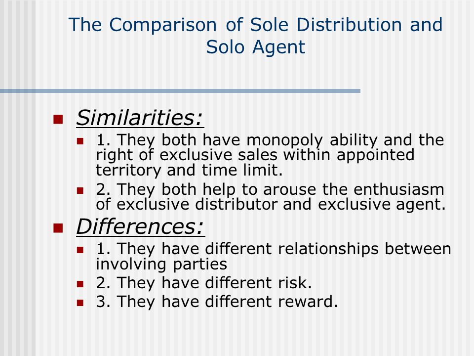 The Comparison of Sole Distribution and Solo Agent Similarities: 1.
